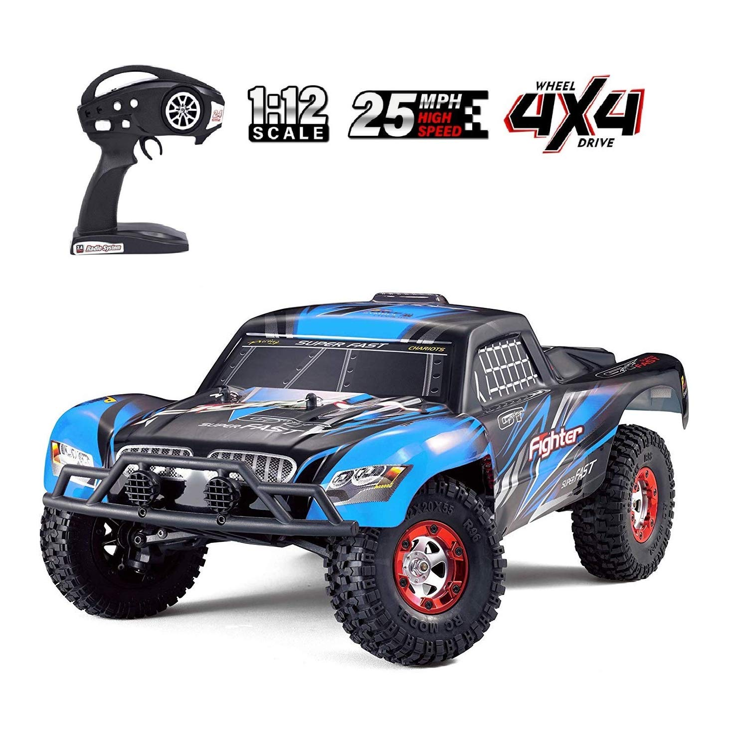 Tecesy RC Cars 1/12 Scale 2.4G 4WD High Speed Electric All Terrain Off Road Rock Crawler Climbing Buggy RTR for Kids & Adults(Blue)