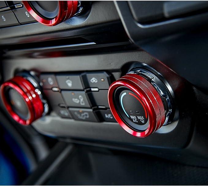 3pcs Aluminum Headlight Volume Tune Control Knob Cover Ring Trim Interior Accessories for Ford Mustang 2015-2020 (Blue)