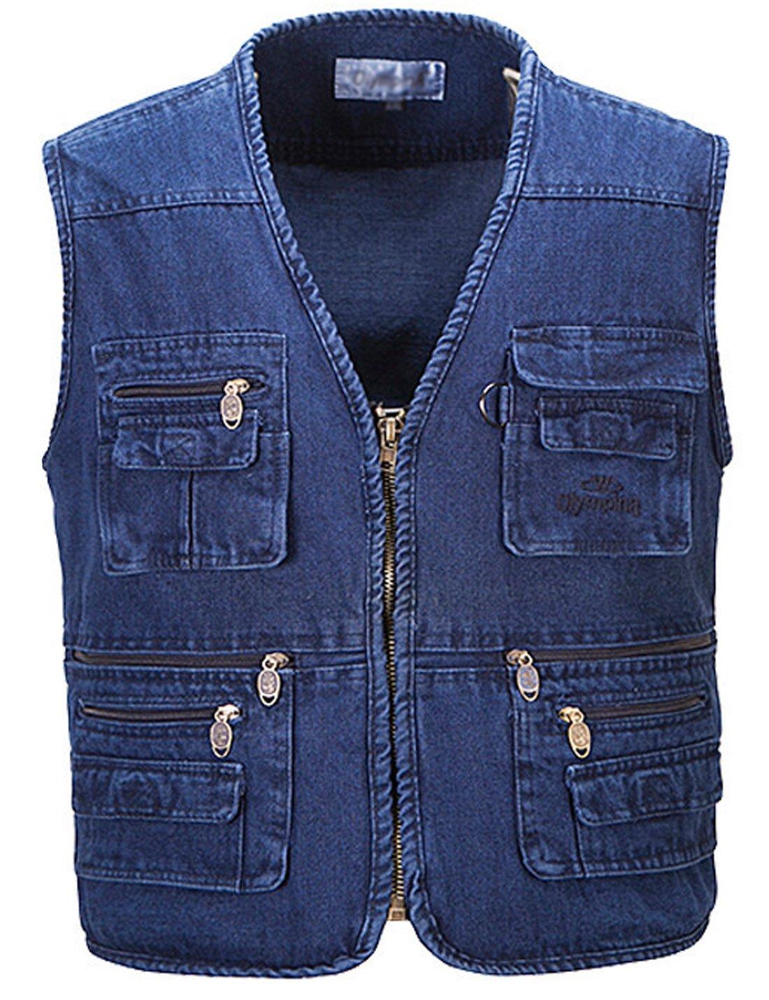Yeokou Men's Casual Denim Blue Jean Cargo Vest Short Work Vest Multi Pockets (XX-Large, Denim Blue)