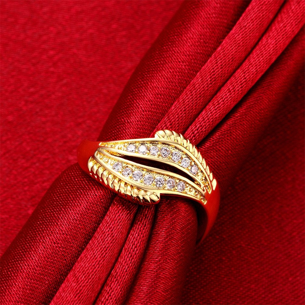 18K Gold Plated Wave Ring Wedding Band Statement Jewelry Simulated Diamond Infinity Love by Mrsrui (Image #2)