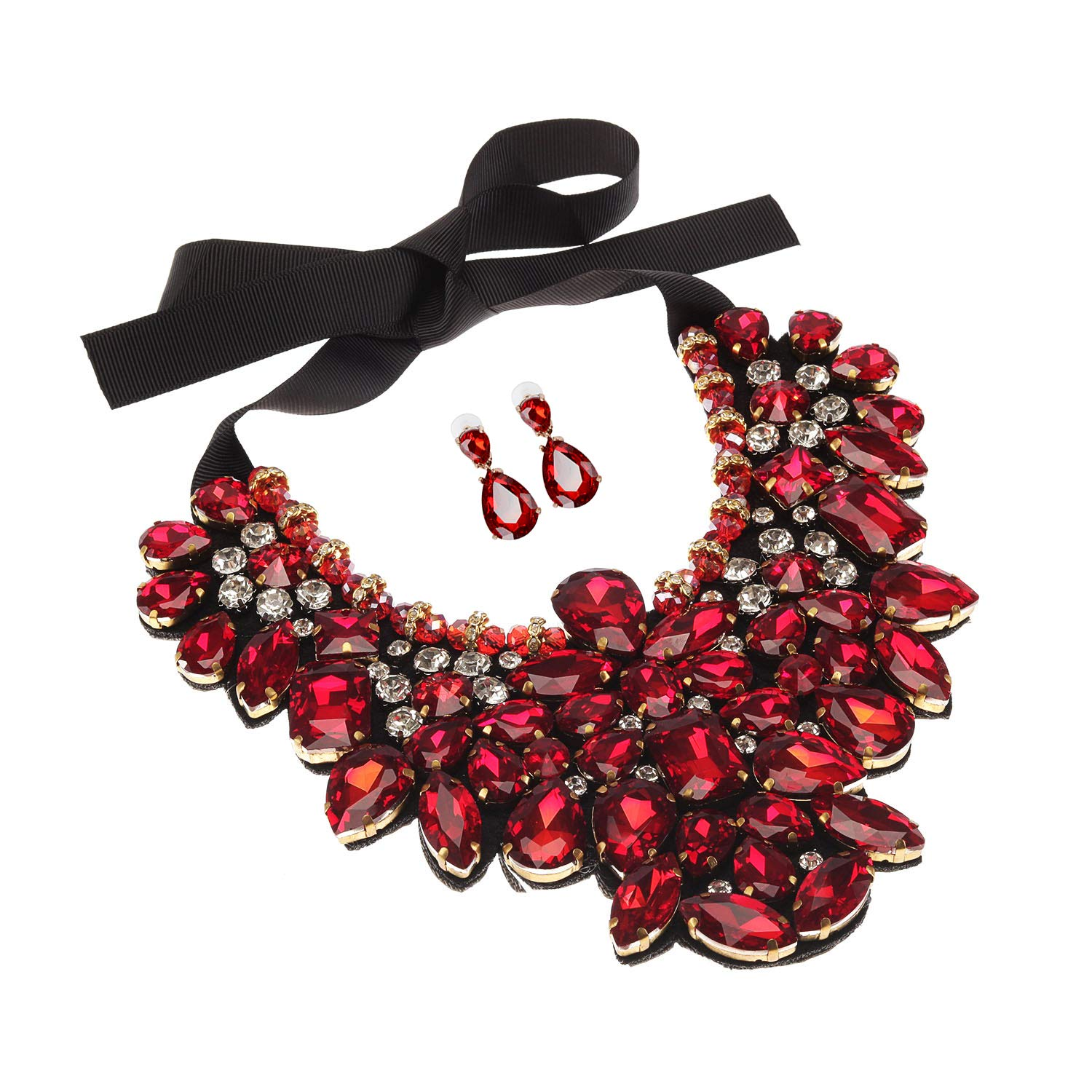 Holylove Red Costume Statement Necklace with Earrings for Women Jewelry Fashion Necklace 1 Set with Gift Box-HLN8455E-Red
