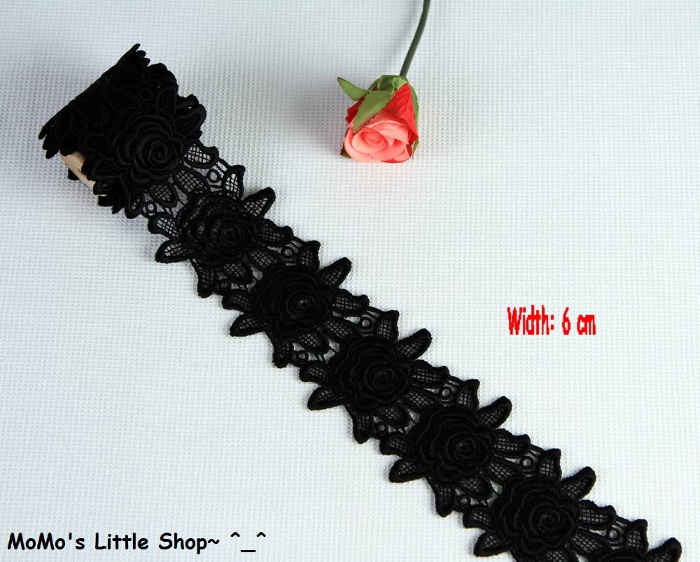 Width: 6 cm; 8 Colours Hot Pink Beautiful Rose Flower Pattern Quality Guipure//Venise Galloon Lace Trim Edging - 1 Metre