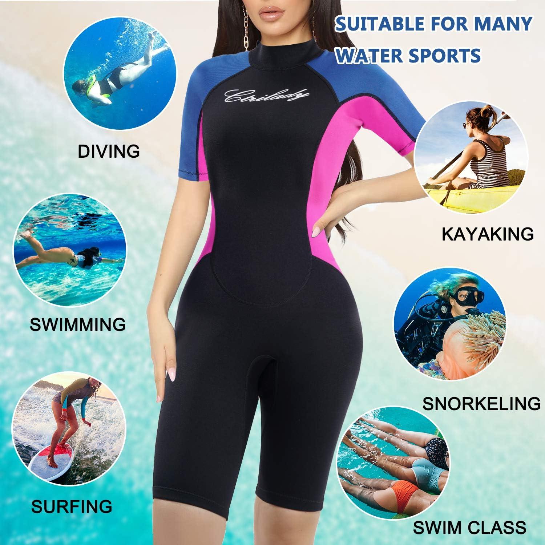 Ladies Womens 1.5mm Shorty Wetsuit Surf Swim Kayak Shortie Diving Wet Suit S-XL