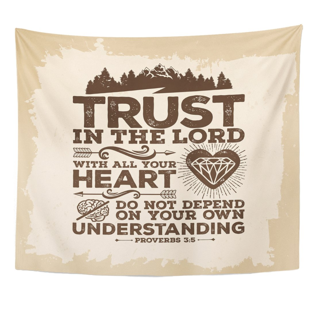 TOMPOP Tapestry Bible Lettering Christian Trust in the Lord with All Your Heart and Do Not Lean on Own Understanding Home Decor Wall Hanging for Living Room Bedroom Dorm 50x60 Inches