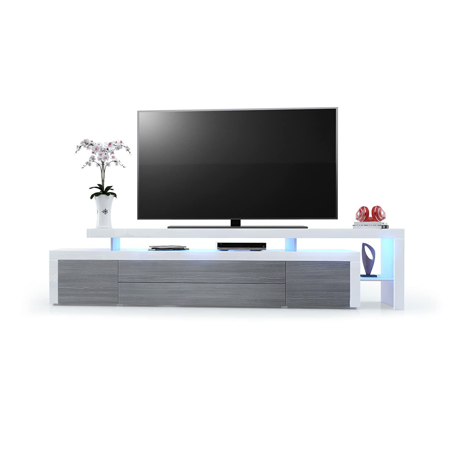 Tv Stand Unit Leon V3 Carcass And Raised Stand In White High  # Vladon Meuble Tv