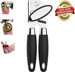 Versatile Can Opener Manual Smooth Edge - NO-RUST Commercial Food Grade Stainless Steel,Soft Hand Grip-Silicone Handle,Heavy Duty with Anti-slip Hand Grip, with Sharp Stainless Steel Cutting Edge
