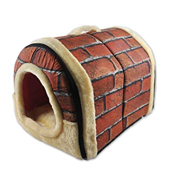 Sefon_Bwomen Cama Perrera roja de la Perrera del Perro de Animal doméstico Cama Plegable portátil Interior pequeña del Sitio del Perro 35 * 28 * 28cm Size ...