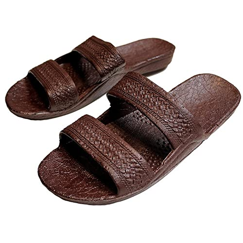 Brown Rubber Slide on Sandal Slippers Double Strap Dark Brown Hawaii Sandal (8)