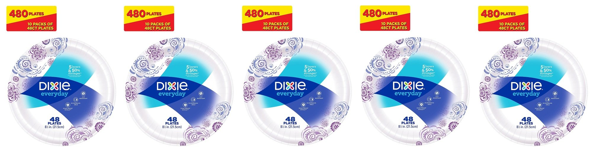Dixie Everyday Paper Plates, 8 1/2 Inch Plates, 480 Count (10 Packs of 48 Plates); Designs May Vary (5 Pack(480 Count))