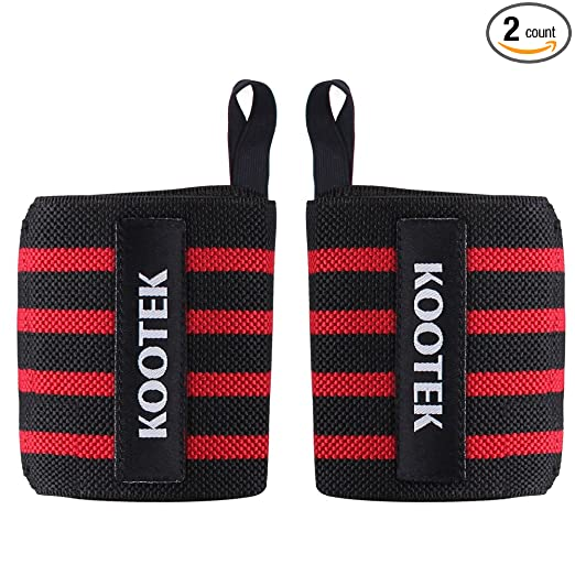 """Kootek Wrist Wraps, 2 Pack 18"""" Wrist Straps Brace with Thumb-Loops Adjustable Strenghen Support Bands for Weight Training, Powerlifting, Bodybuilding, Weight Lifting and Crossfit"""
