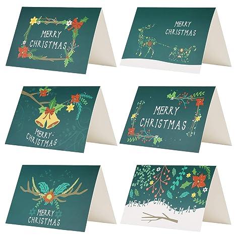 Biglietti Di Natale Modelli.Kesote 24 Biglietti D Auguri Di Natale Verdi Biglietti Di Natale Di 6 Modelli Con Disegni Di Fiori 24 Biglietti 24 Adesivi Di Natale 24 Buste