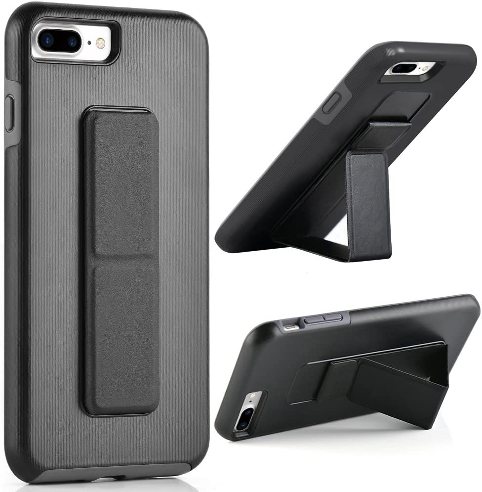 iPhone 8 Plus Case, iPhone 7 Plus Case, ZVEdeng Hand Strap Vertical and Horizontal Stand Magnetic Kickstand Dual Layer Drop Protection Case for Apple iPhone 7 Plus / 8 Plus 5.5'' Black and Grey