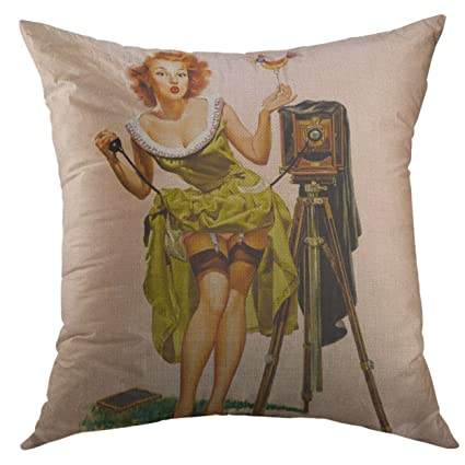 Image Unavailable. Image not available for. Color  Mugod Pillow Case Retro  Elvgren Vintage Camera ... 4e3eb8d9c