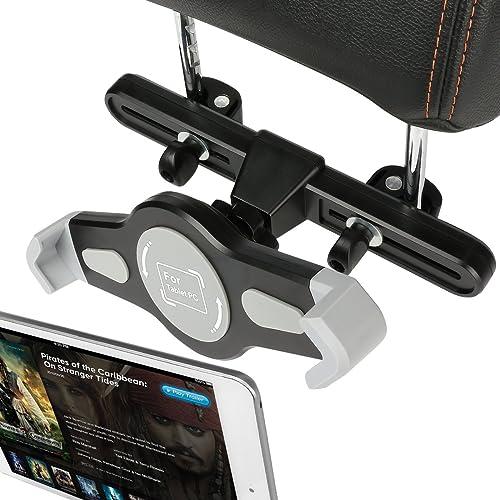 Car iPad Holder Headrest, Invool 360 Degree Adjustable Rotating Portable Backseat Holder for iPad 7 - 10 Inch Tablets (Black and Grey)
