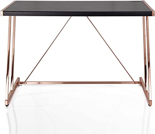 Writing Desk with USB Dock in Black and Rose Gold – MDF, Metal Black and Rose Gold