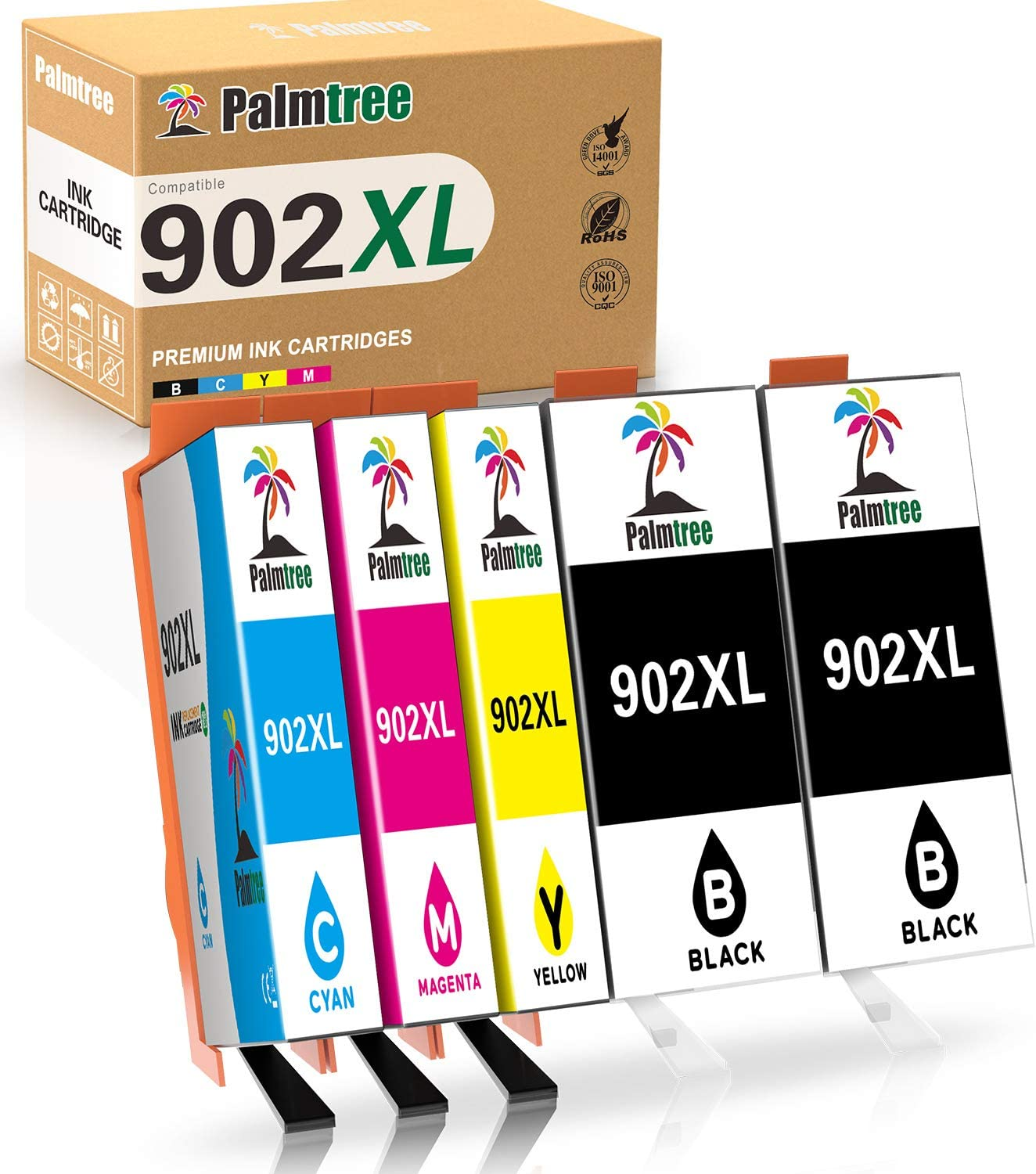 Palmtree Compatible Ink Cartridge Replacement for HP 902XL 902 XL to use with OfficeJet Pro 6968 6978 6958 6962 6954 6960 6970 6979 6950 6975 Printer (2Black Yellow Cyan Magenta, 5-Pack)
