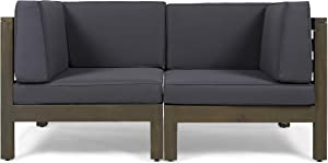 Great Deal Furniture Keith Outdoor Sectional Loveseat Set | 2-Seater | Acacia Wood | Water-Resistant Cushions | Gray and Dark Gray