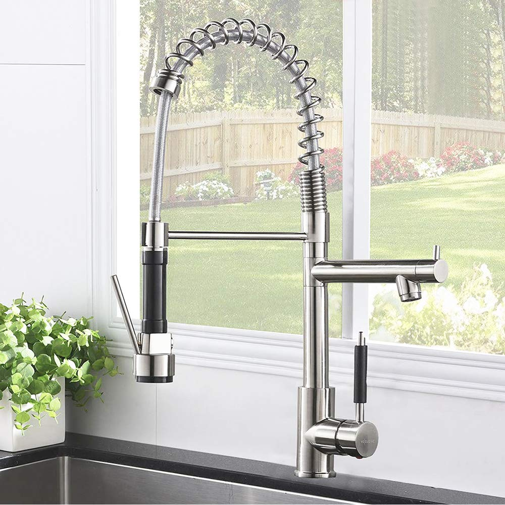 IKEBANA Modern Two Spout Sprayer Black Pull Out Sprayer Single Lever Spring Brushed Nickel Kitchen Faucet Pull Down Kitchen Sink Faucet