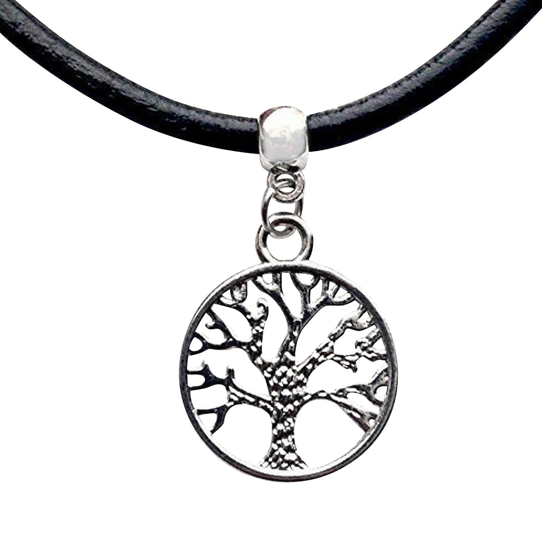 Good Black Leather Cord Choker Charm Necklace Hippy Tibetan Gift