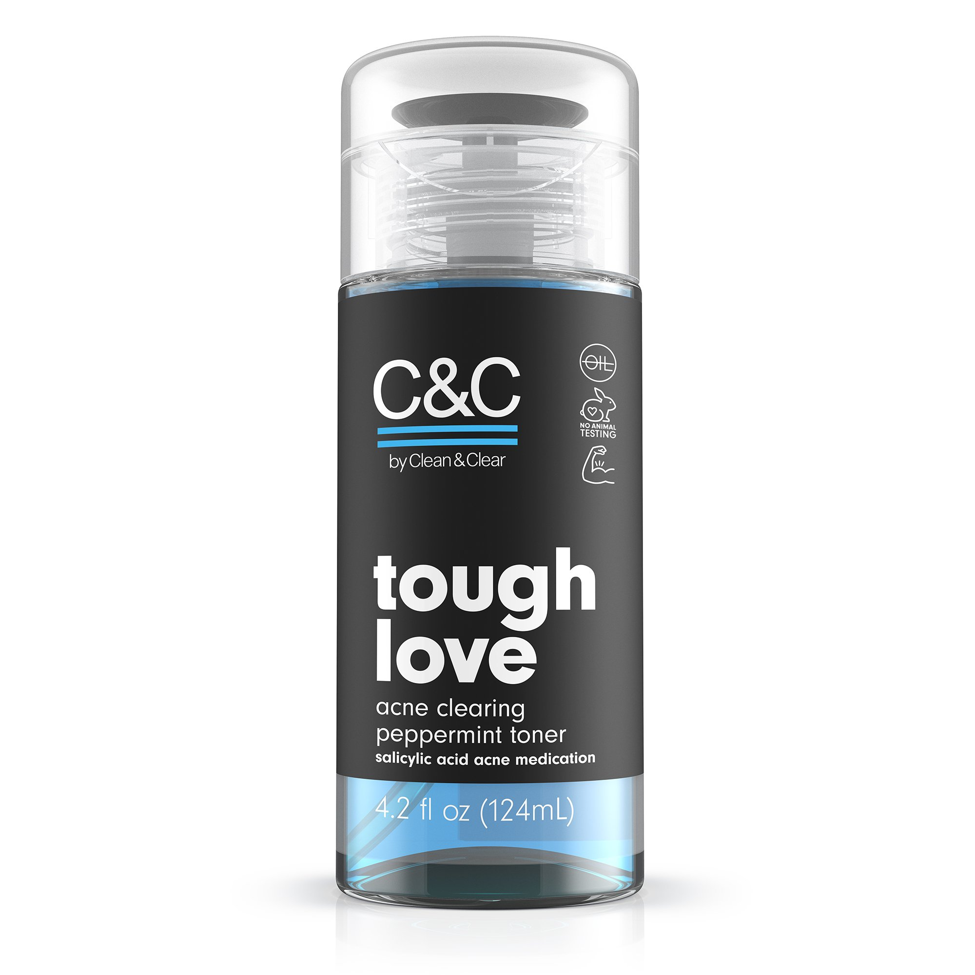 C&C by Clean & Clear Tough Love Acne Clearing Peppermint Facial Toner, With Glycerin and Salicylic Acid, Oil-free Toner for Oil Prone Skin, Not Tested on Animals, 4.2 fl. oz.