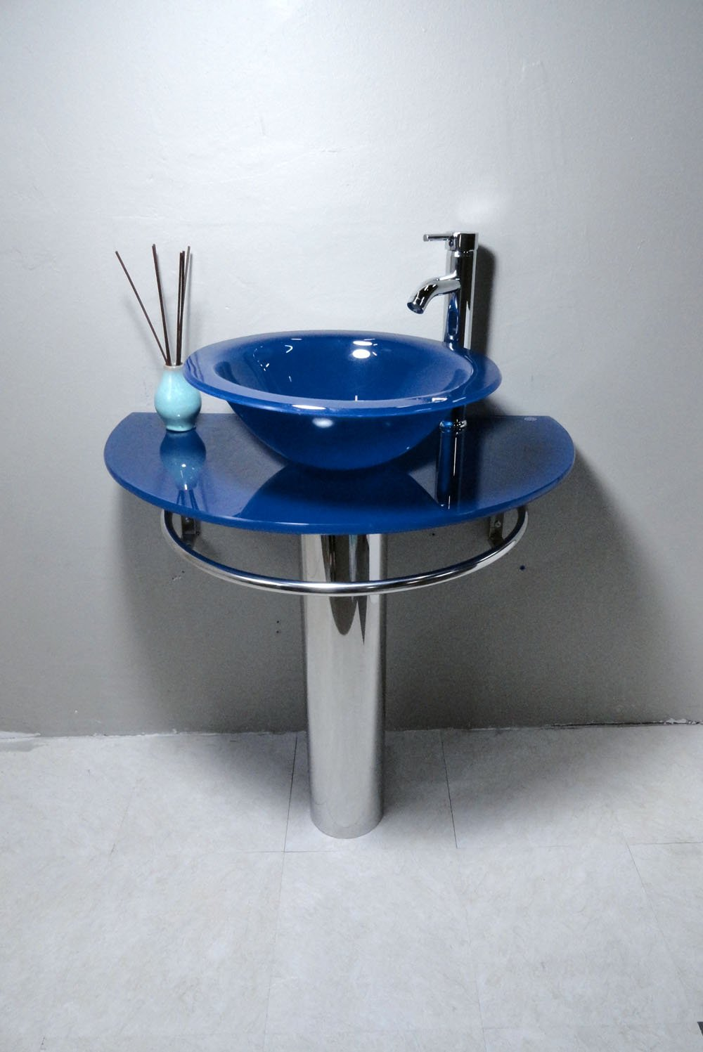 Bathroom Vanities Pedestal Glass Blue Sink Combo W Faucet - - Amazon.com