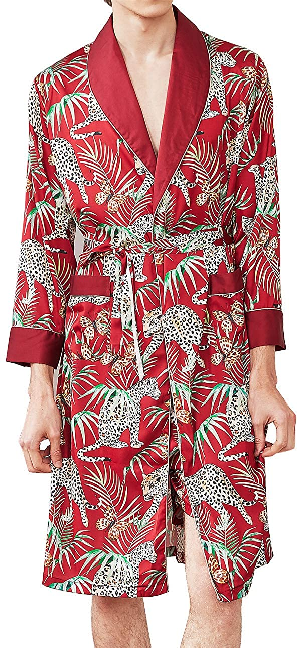 Chaos World Herren Satin Morgenmantel Japanischer Kimono Badem/äntel