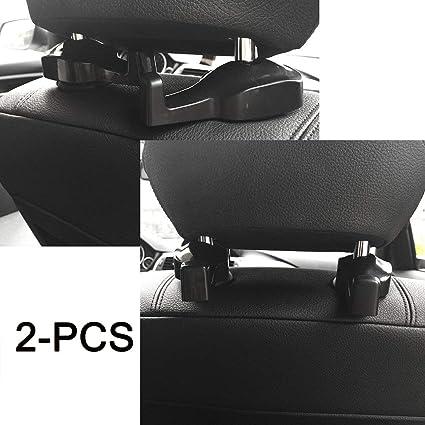 2x Black ABS Car Auto Back Seat Headrest Bag Coat Hook Organizer Holder Hanger