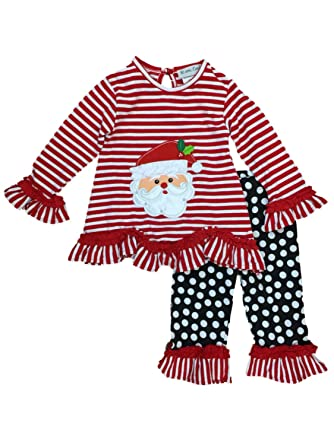 64a55b345 Infant & Toddler Girls Red Santa Holiday Outfit Ruffle Shirt & Leggings 18m