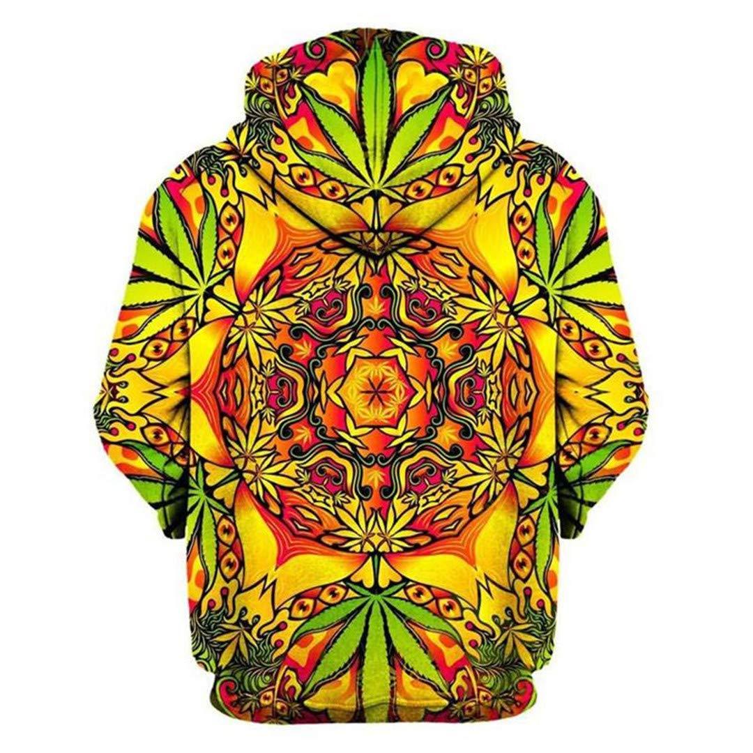 3D Print Psychedelic Weed Green Leaf Sweatshirt Hoodies Pullovers