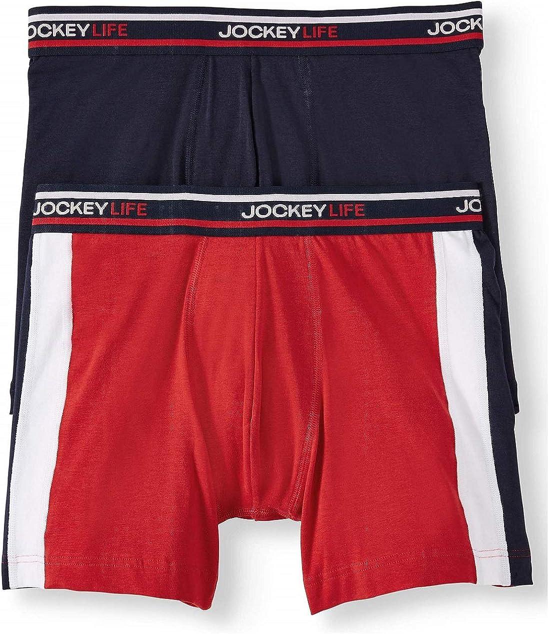 Jockey Life Men's Color Remix Cotton Stretch Boxer Brief, 2-Pack