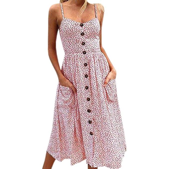 e4a742dfcfd PRIMODA Women Summer Floral Print Sundress Bohemian Spaghetti Strap Button  Down Swing Midi Dress with Pockets