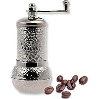 Turkish Handmade Copper Coffee Salt Pepper Spice Grinder Mill (12cm, Silver)