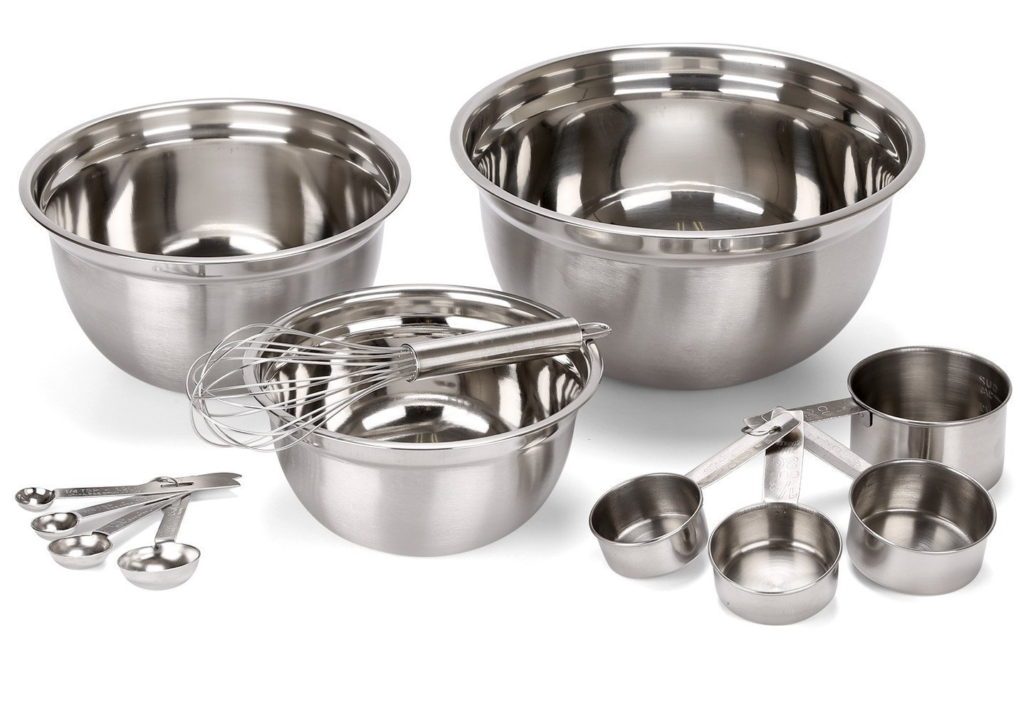 Estilo 12 Piece Stainless Steel Mixing Bowls, Includes Measuring Cups, Measuring Spoons And Barrel Whisk by Estilo