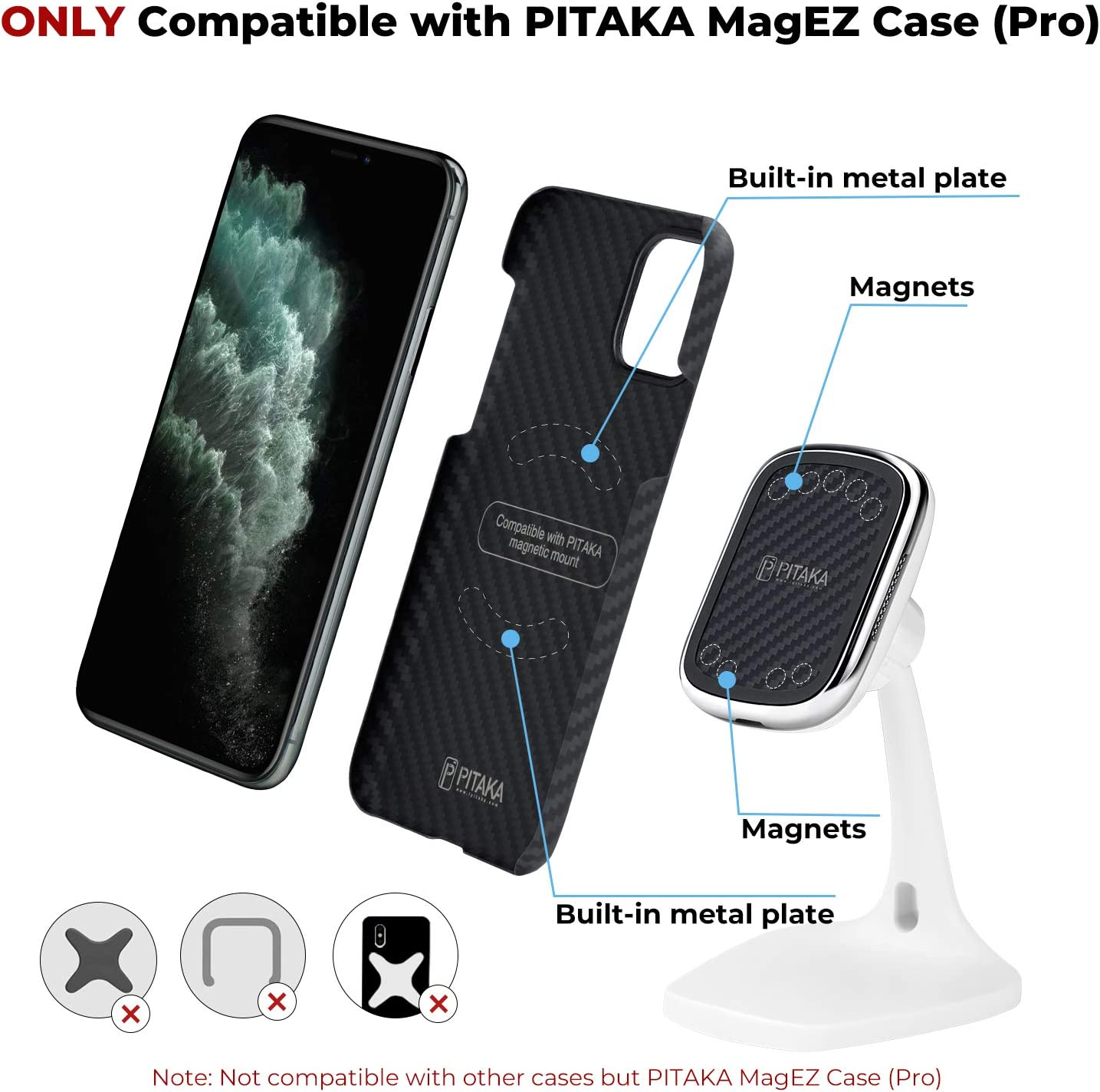 for PITAKA MagEZ Case only PITAKA New MagEZ Mount Qi Desktop Smartphone Charging Stand Magnetic Fast Wireless Charger Qi Certification Indoor Use Aramid Fiber Carbon Style 360/° Rotatable Black