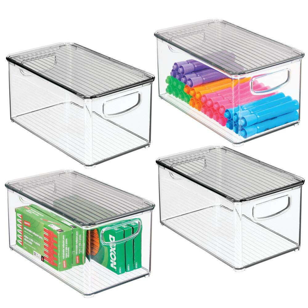 mDesign Plastic Stackable Long Storage Bin Container with Handles, Lid for Home Office to Hold Gel Pens, Erasers, Tape, Pencils, Markers, Notepads, Highlighters, Staplers - 4 Pack - Clear/Smoke Gray