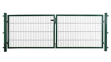 B x H 300 x 100 cm f/ür Stabmattenz/äune inkl Doppelfl/ügeltor in anthrazit Befestigungsmaterial