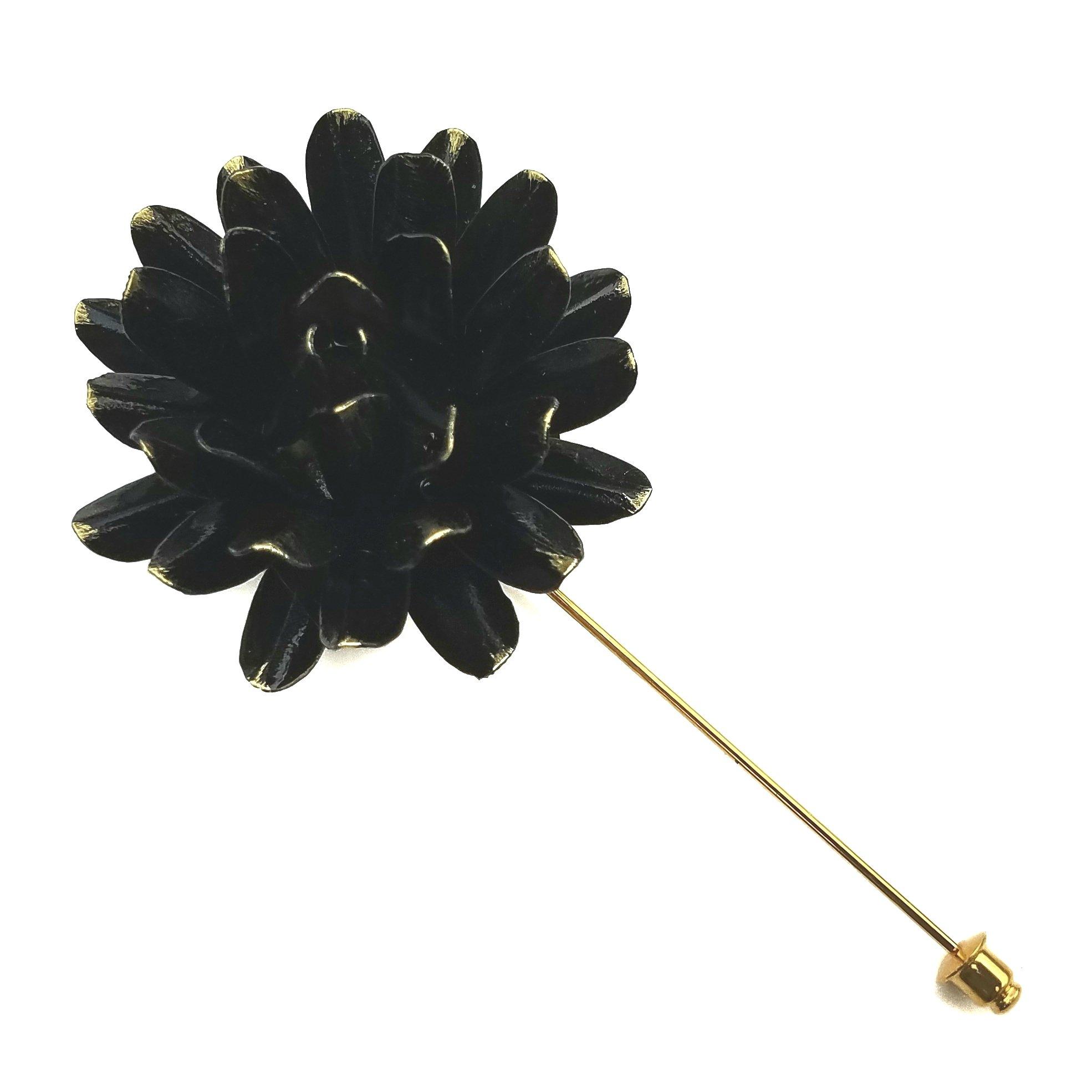 Distressed Black Metal Flower Lapel Pin