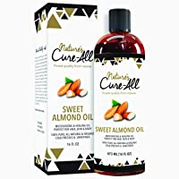 Organic Sweet Almond Oil For Skin & Hair (16oz), Unrefined, Cold-Pressed Skincare | Moisturized Skin, Nourished Hair, Fight Dryness, Cracked Heels, Anti-Aging, Anti-Wrinkle & Baby Massage Oil
