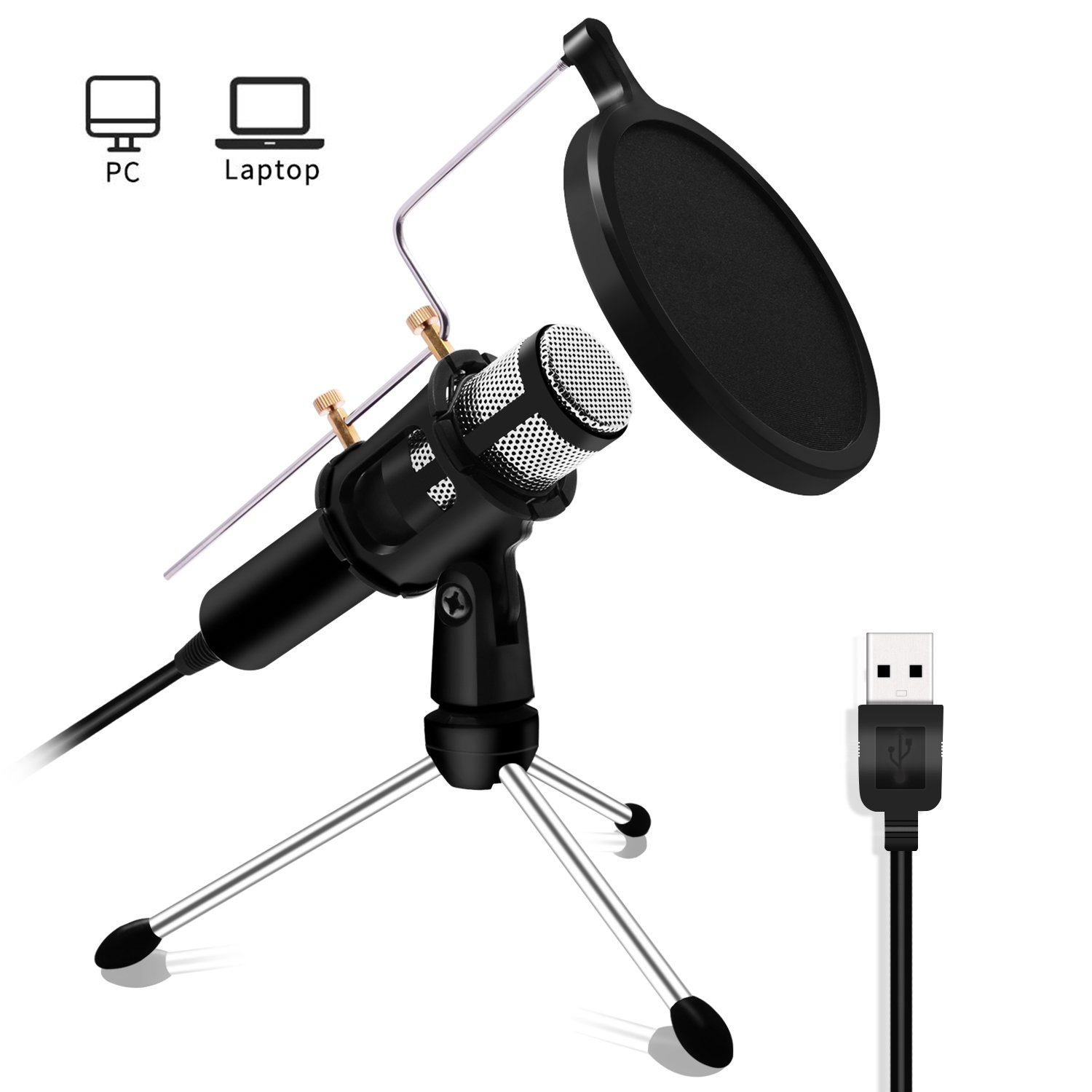 Lefon Professional Microphone USB Microphone Plug & Play Home Studio USB Condenser Microphone Broadcasting & Recording Microphone Set, for YouTube, Facebook, Podcasting, Games(Windows/Mac)