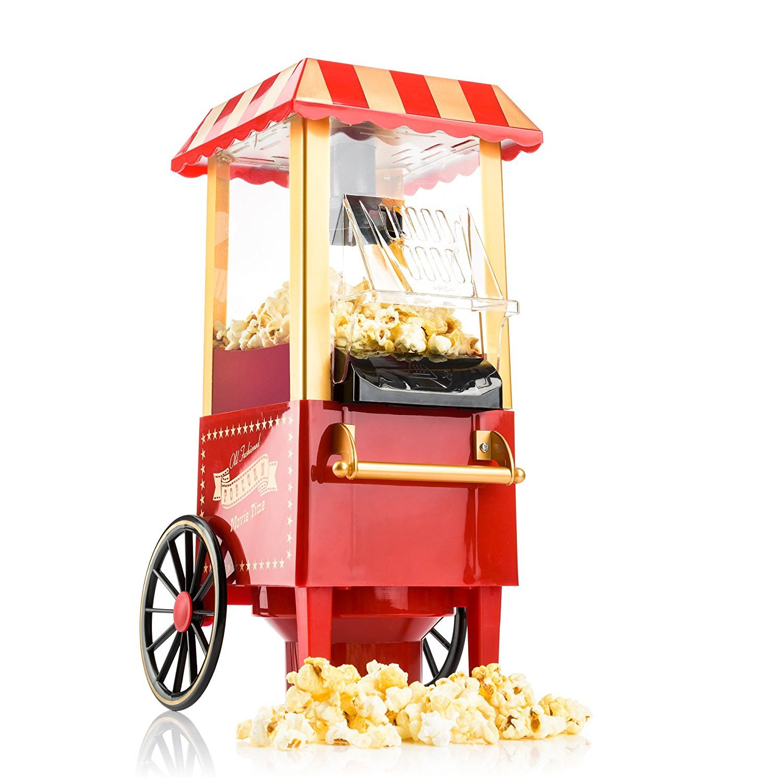 Bakaji Carretto Macchina Pop corn PopCorn Retrò Luna Park Vintage Senza Olio Cottura ad Aria Calda 1200W BK85