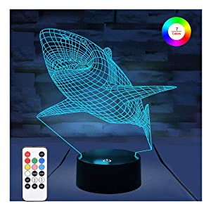 WOlight 3D Night Lights for Kids, Illusion Lamp with Remote Control and Timer&Smart Touch 7 Colors Changing Table Desk Bedroom Deco Optical Illusion Lamps As a Gift Ideas for Boys or Girls (Shark)