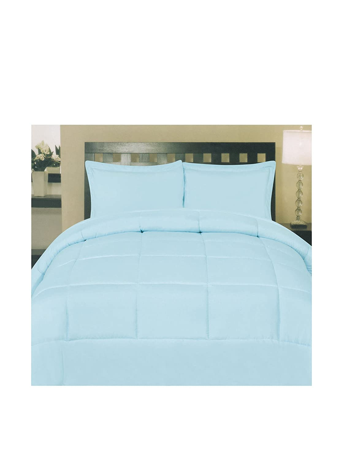 Sweet Home Collection White Goose Down Alternative Comforter, Aqua, Full MSH-COMF-LBL-F