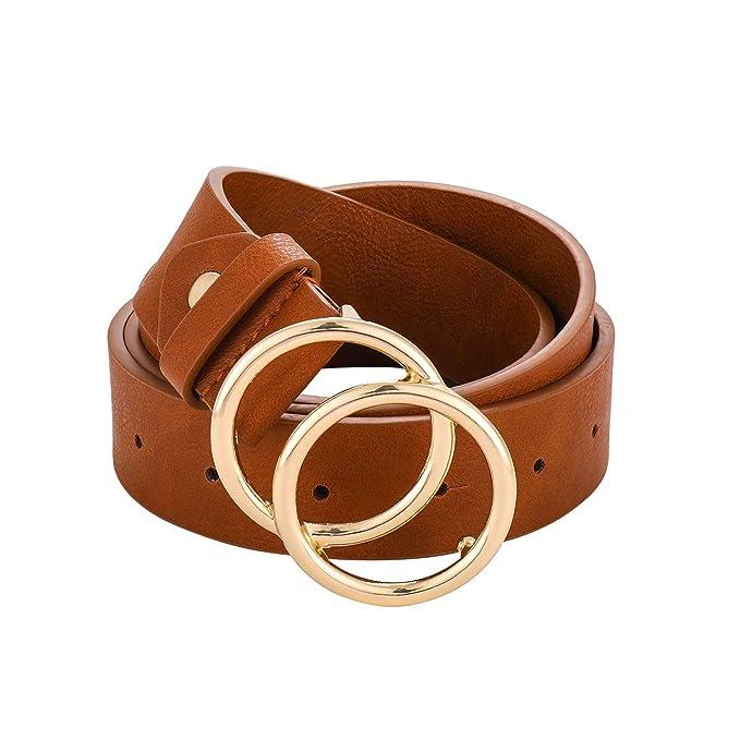 Amazon.com: Cinturón de piel con doble anilla para mujer ...