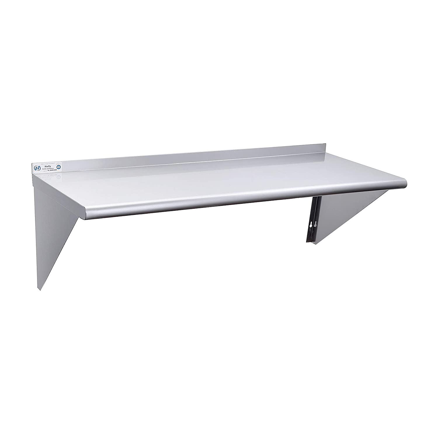 Stainless Steel Shelf 18 x 48 Inches, 400 lb, Commercial NSF Wall Mount Floating Shelving for Restaurant, Kitchen, Home and Hotel