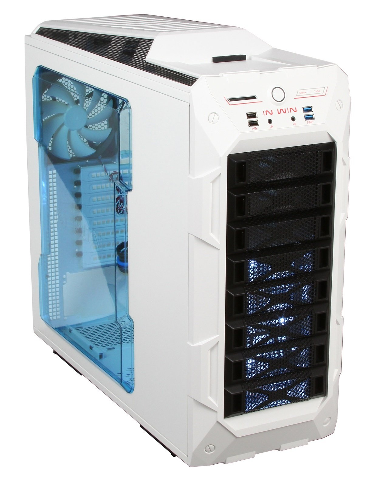 In Win GR One/White Sleek SECC ATX Full Tower Computer Case ATX 12V/EPS Power Supply Compatible