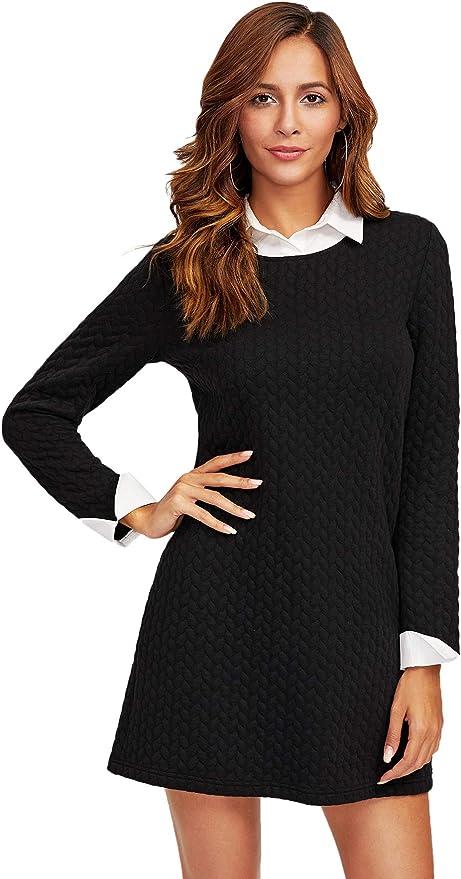 TALLA XS. SOLY HUX Vestido con Cuello en Contraste 2 en 1 Vestido Elegante- Negro XS