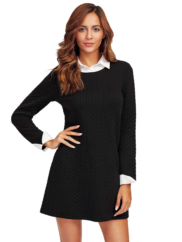TALLA XS. SOLY HUX Mujer Vestidos Corto Mangas Largas Color Negro para Fiesta Trabajo XS