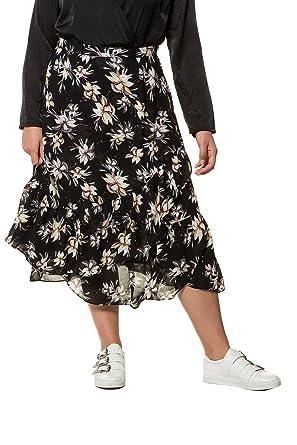 Studio Untold Damen große Größen bis 54, Midi-Rock aus Krepp mit weit  ausgestelltem Blütenmuster, Wickeleffekt und Volants 718456  Studio Untold   Amazon.de  ... 454b1cb302
