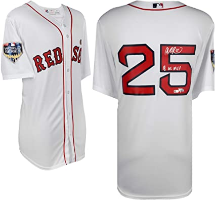 d442e5978 Steve Pearce Boston Red Sox 2018 MLB World Series Champions Autographed  Majestic White Replica Jersey with quot