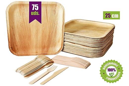 GoBeTree Vajilla desechable de 75 piezas, 25 platos de hoja de palma cuadrados, juego de cubiertos de madera abedul de 25 tenedores y 25 cuchillos, ...